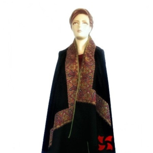 Pashmina Shawl Attach Border Black