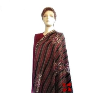 Semi Pashmina Shawl, Botidar Multi Color