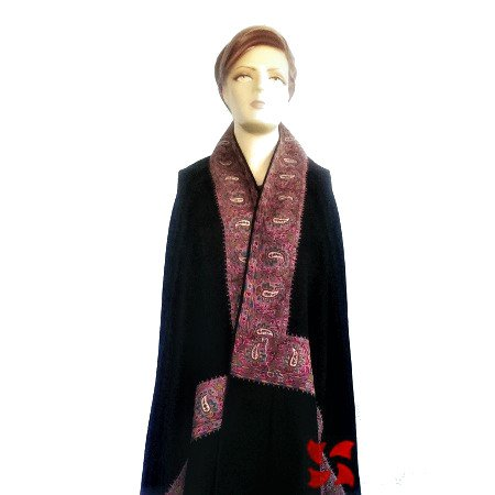 Pashmina Shawl Attach Border Pink Black